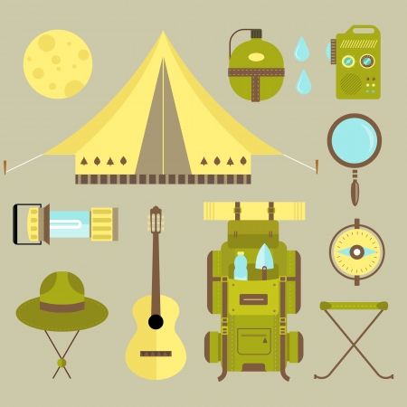 set of cute various camping icons photo