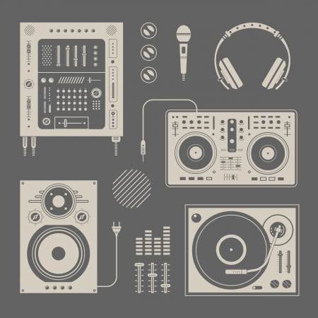 vintage microphone: set of various stylized dj icons