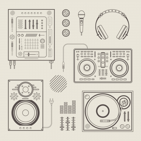 dj turntable: set of various stylized dj icons