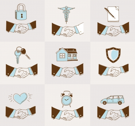 set of doodle Handshake insurance icons photo
