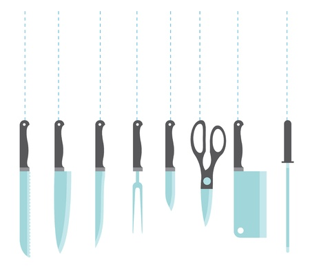 small group of object: Icons of kitchen knife stylized set