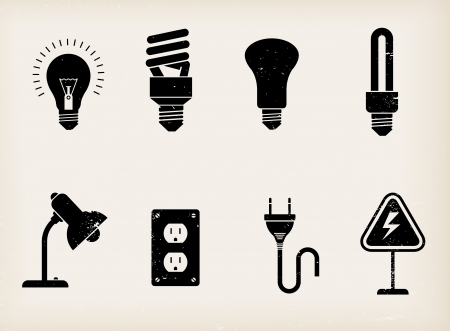 illustration of various icons of lamps illustration