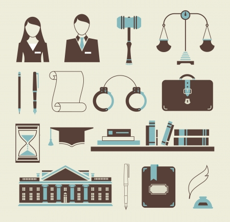 lawyer in court: set of stylized icons law legal system