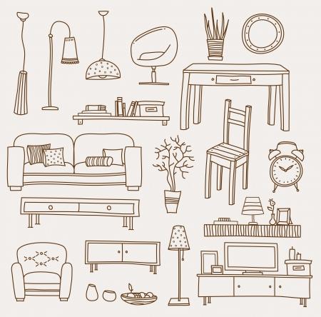 muebles de oficina: Set de iconos para el salón Foto de archivo