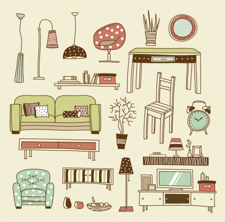 Wohnzimmer Reihe Von Icons Fr