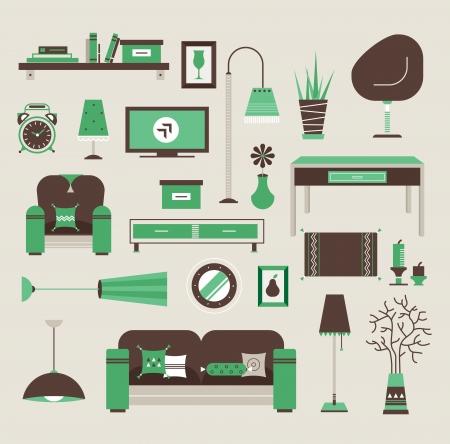 muebles de oficina: Conjunto de iconos vectoriales para sala de estar Vectores