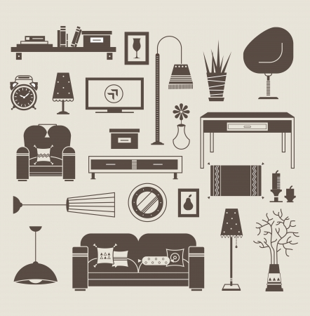 tv room: Set of icons for living room