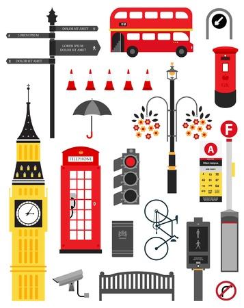 런던 도시 거리 아이콘 세트 일러스트