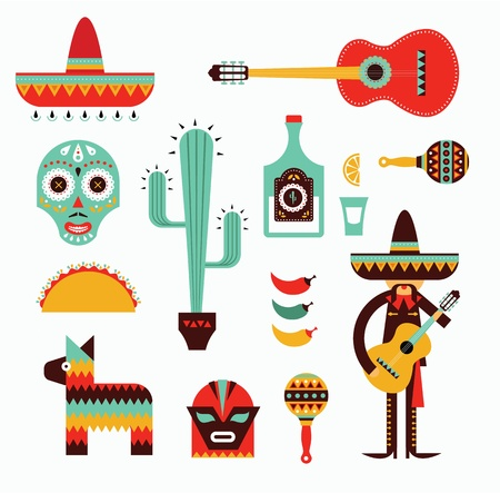 food fight: illustration of various stylized icons for Mexico Illustration