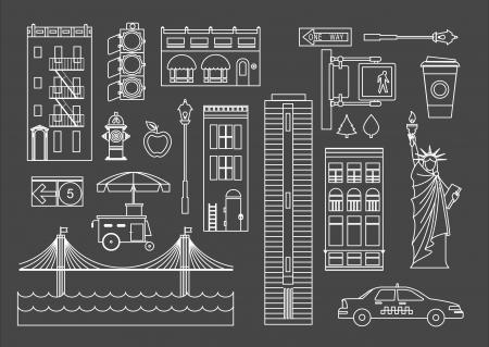 ニューヨーク市のアイコンを設定  イラスト・ベクター素材