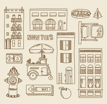 new york street: set of New York city icons Illustration