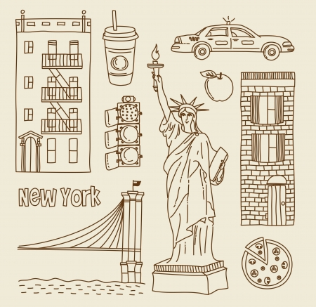 new york taxi: set of New Yourk city icons Illustration