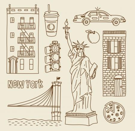 new york street: set of New Yourk city icons Illustration