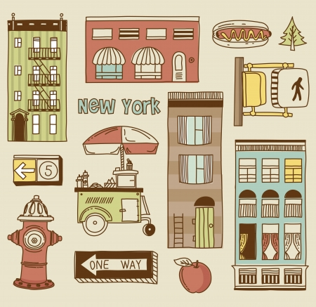 new york buildings: set of New York city icons Illustration
