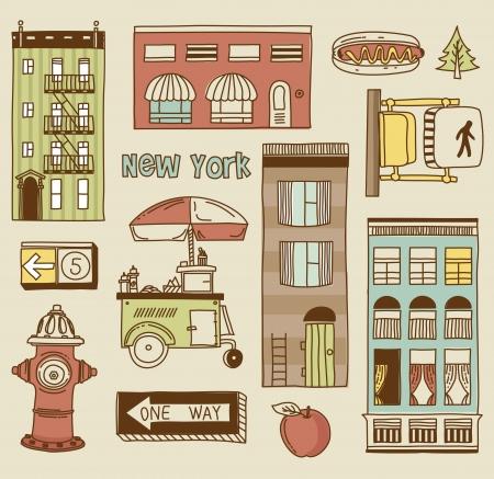 new york street: Vector ensemble de nouvelles ic�nes de la ville yourk