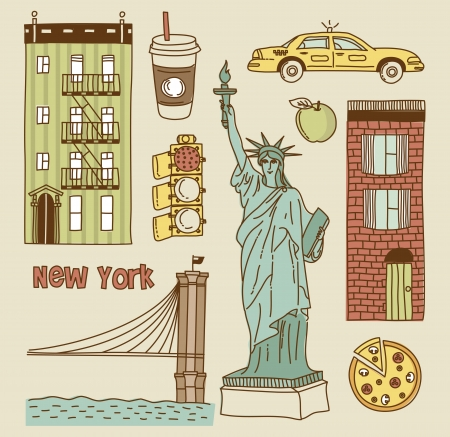 new way: set of New York city icons Illustration