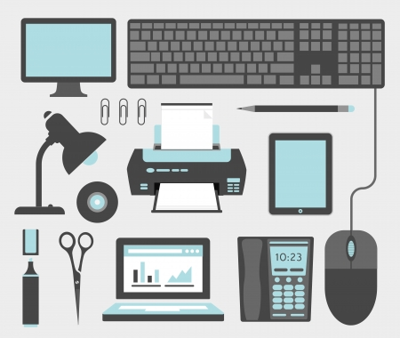 pc monitor: Office icons Illustration