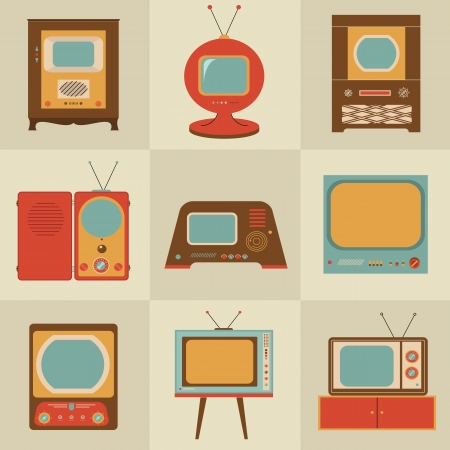 television aerial: retro vintage stylish tv set icons