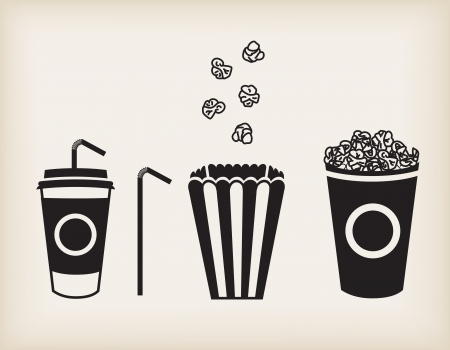 illustration of soda cup, straw and popcorn Illustration