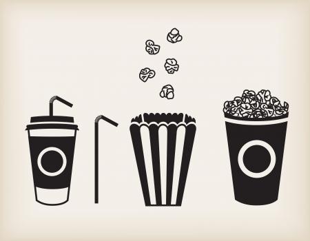 palomitas: Ilustraci�n vectorial de refresco taza, paja y palomitas