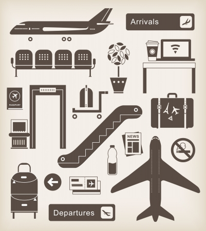 airport security: set of cute airport icons and signs