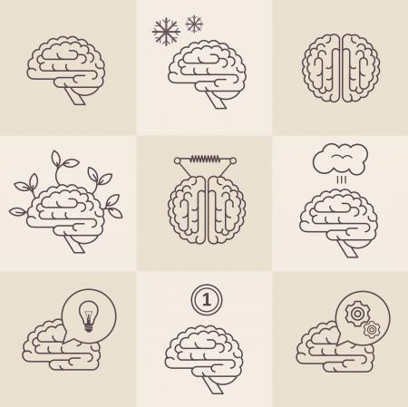 set of 9 brain icon designs Illustration