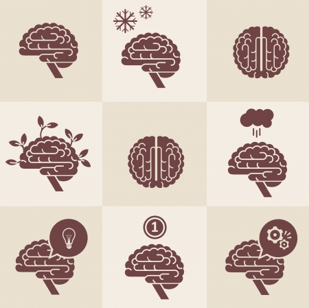 set of 9 brain icon designs Illustration