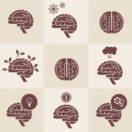 right side: set of 9 brain icon designs Illustration
