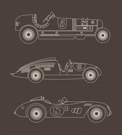 sport vintage racing cars Vector