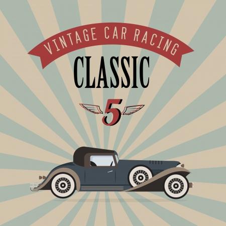 car flag: poster of a classic vintage car Illustration