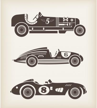 vintage: spor eski yarış arabaları Çizim