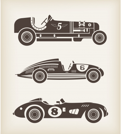 driving a car: Vector deporte coches de competici�n del vintage Vectores