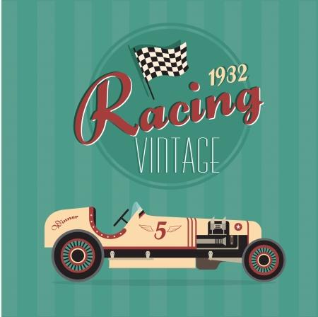 古典的なヴィンテージ車のポスター  イラスト・ベクター素材