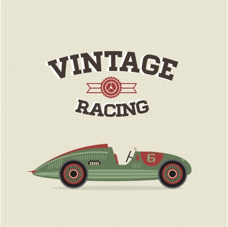 rally car: poster of a classic vintage car Illustration