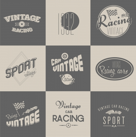 Cute Vintage car racing badges set Vector