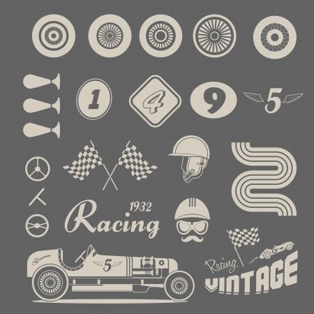 빈티지 자동차 경주의 아이콘을 설정