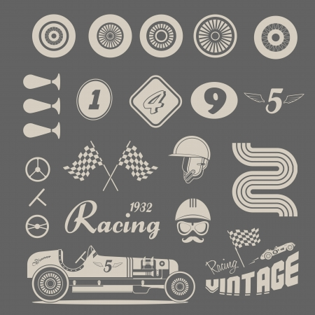 motor transport: icon set of vintage car racing Illustration