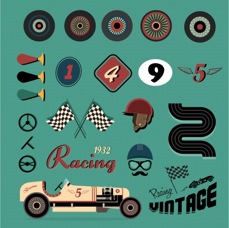 vintage postcard: icon set of vintage car racing Illustration