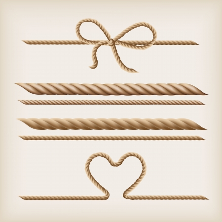 rope background: Ropes and rope bow on the light brown background