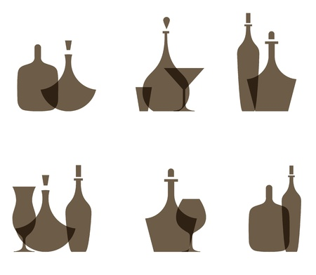 set of icons of glass bottles Vector
