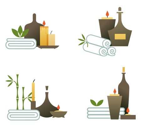 massage therapy: illustration of various spa icons