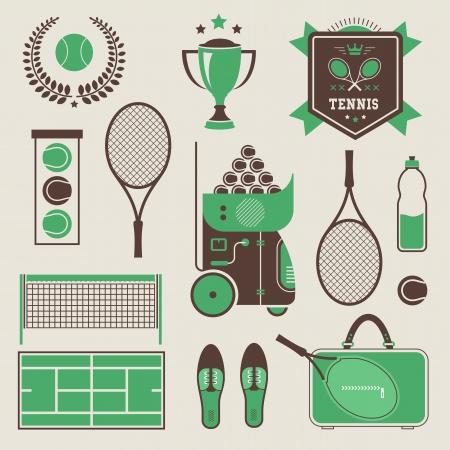 raqueta de tenis: Vector ilustración de varios iconos de tenis estilizados