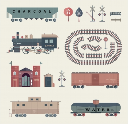 wood railway: set of various elements of railroad  trains  Illustration