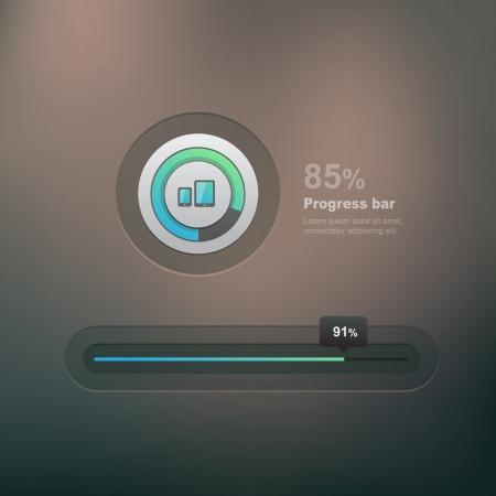 ui element, progress bar on dark background Vector