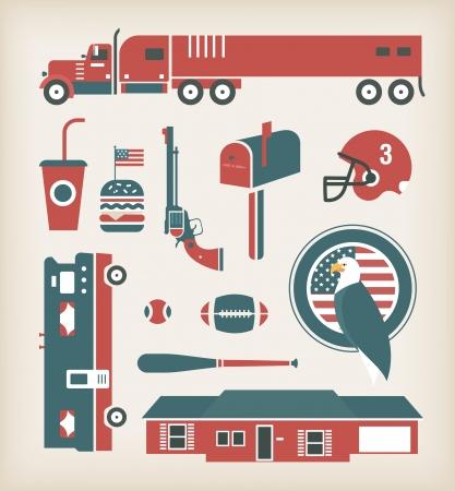 food state: USA travel icons set Illustration