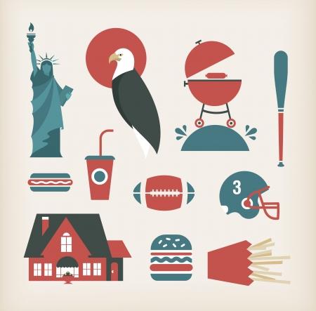 estereotipo: Vector conjunto de iconos que viajan por América EE.UU.