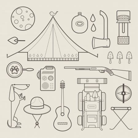 moon chair: set of cute various camping icons Illustration