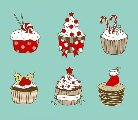 chocolate mint: illustration of 6 Christmas cupcakes