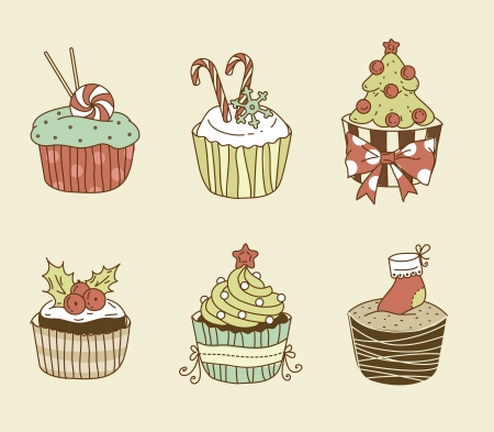 illustration of 6 Christmas cupcakes Vector