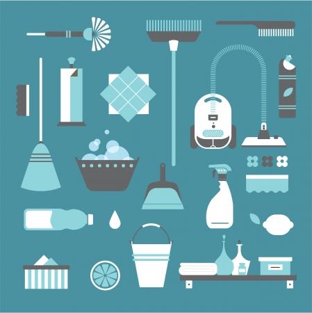 productos de limpieza: Conjunto de vectores de iconos estilizados utensilios de limpieza Vectores